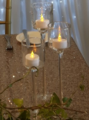 Set of 3 Tall Glass T.Light Holders